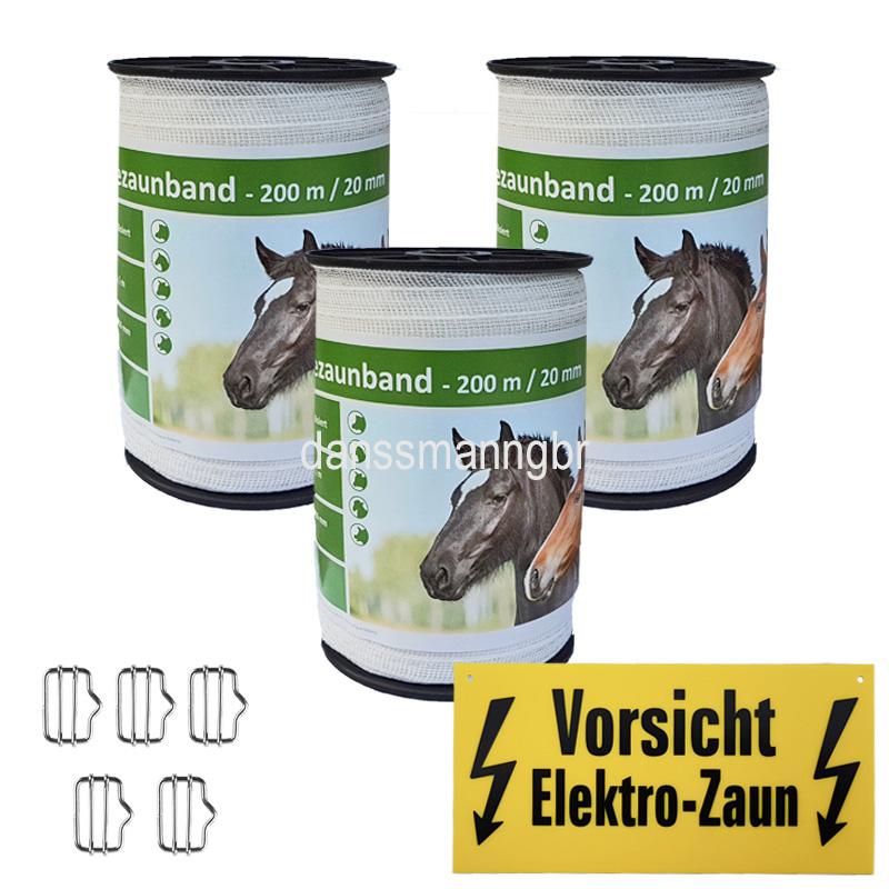 Weidezaunband 20 mm  6 Niroleiter Länge  wählbar  Elekto Weidezaun weiss